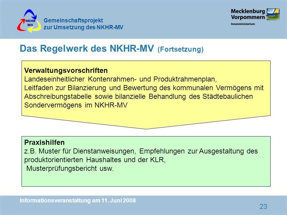 Gemeinschaftsprojekt zur Umsetzung des NKHR-MV Informationsveranstaltung am 11.