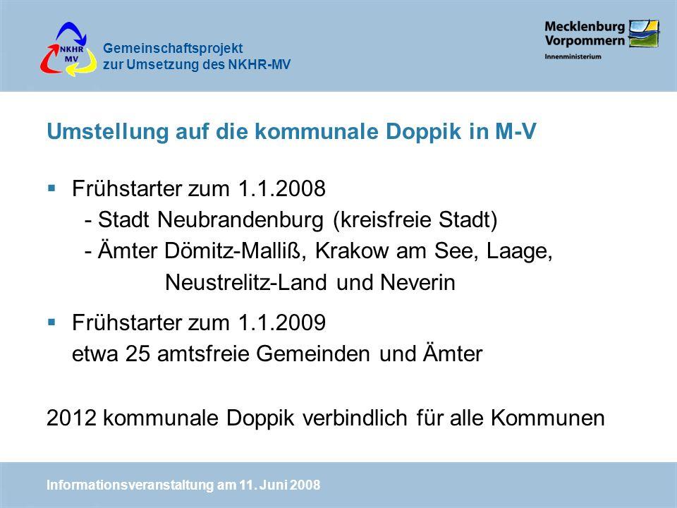 Gemeinschaftsprojekt zur Umsetzung des NKHR-MV Umstellung auf die kommunale Doppik in M-V Frühstarter zum 1.1.2008 - Stadt Neubrandenburg (kreisfreie Stadt) - Ämter Dömitz-Malliß, Krakow am See, Laage, Neustrelitz-Land und Neverin Frühstarter zum 1.1.2009 etwa 25 amtsfreie Gemeinden und Ämter 2012 kommunale Doppik verbindlich für alle Kommunen Informationsveranstaltung am 11.