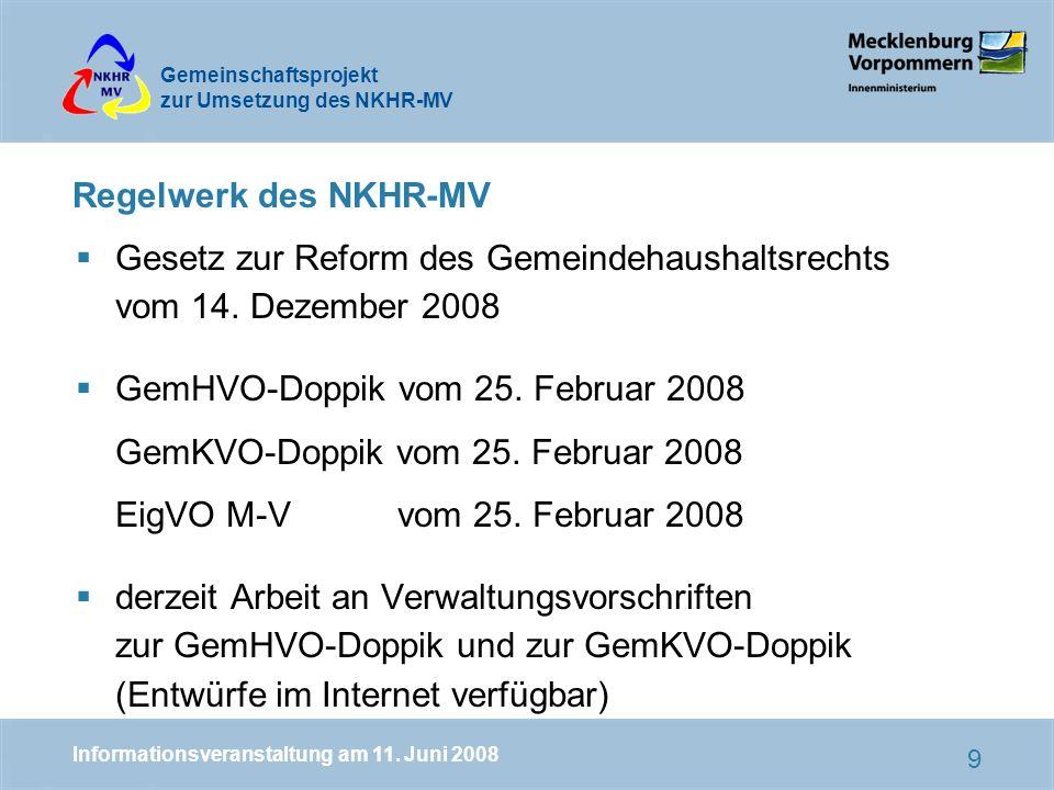 Gemeinschaftsprojekt zur Umsetzung des NKHR-MV 9 Regelwerk des NKHR-MV Gesetz zur Reform des Gemeindehaushaltsrechts vom 14.