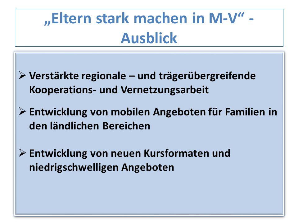 Eltern stark machen in M-V - Ausblick Verstärkte regionale – und trägerübergreifende Kooperations- und Vernetzungsarbeit Entwicklung von mobilen Angeb