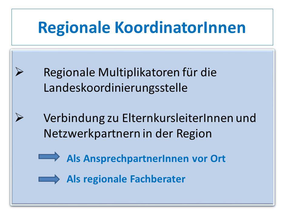 Regionale KoordinatorInnen Regionale Multiplikatoren für die Landeskoordinierungsstelle Verbindung zu ElternkursleiterInnen und Netzwerkpartnern in de