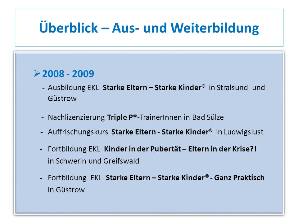 Überblick – Aus- und Weiterbildung 2008 - 2009 - Ausbildung EKL Starke Eltern – Starke Kinder® in Stralsund und Güstrow - Nachlizenzierung Triple P®-T