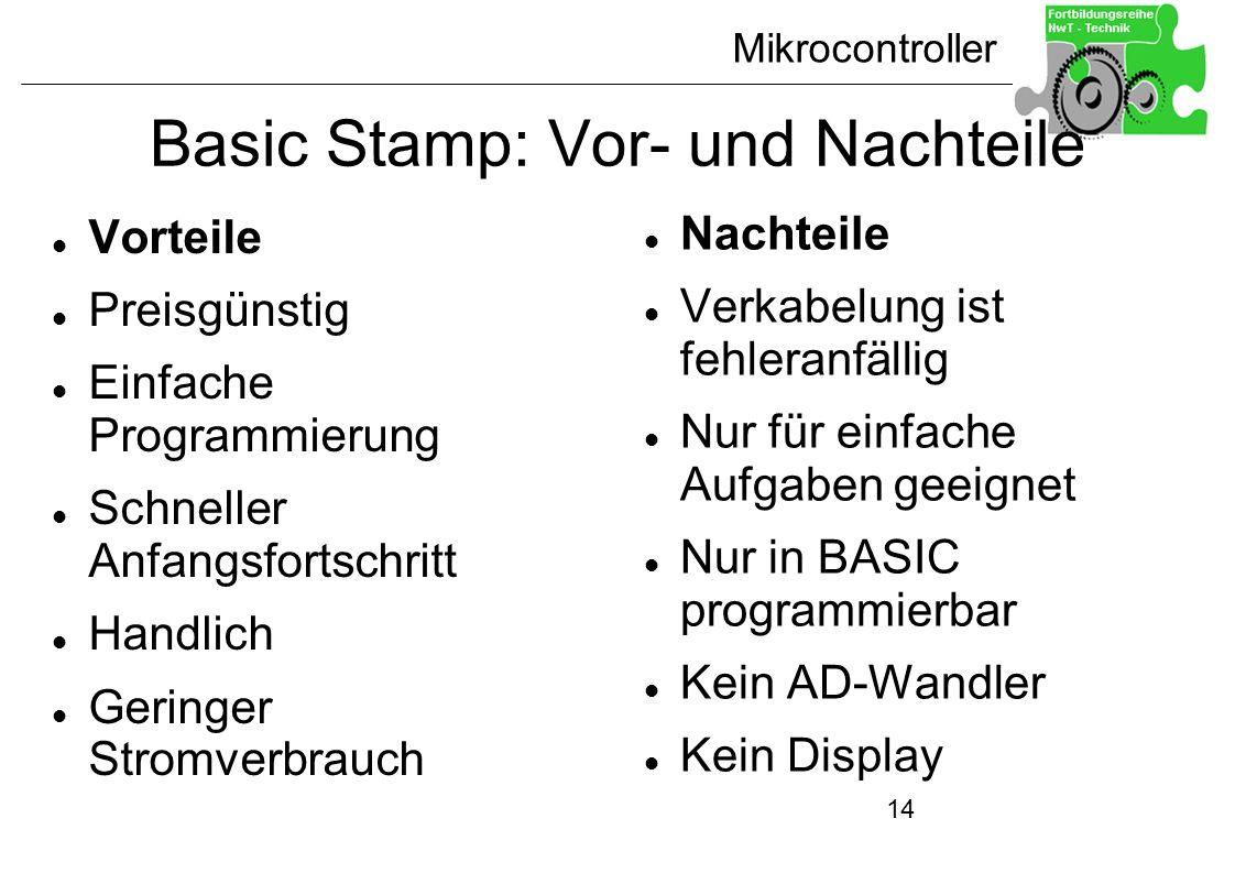 Mikrocontroller 14 Basic Stamp: Vor- und Nachteile Vorteile Preisgünstig Einfache Programmierung Schneller Anfangsfortschritt Handlich Geringer Stromv