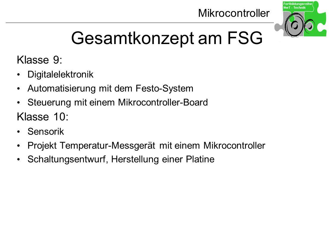 Mikrocontroller Gesamtkonzept am FSG Klasse 9: Digitalelektronik Automatisierung mit dem Festo-System Steuerung mit einem Mikrocontroller-Board Klasse