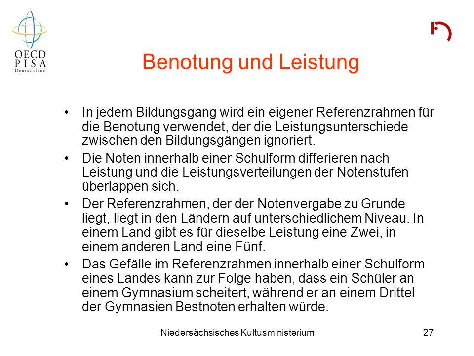 Niedersächsisches Kultusministerium27 Benotung und Leistung In jedem Bildungsgang wird ein eigener Referenzrahmen für die Benotung verwendet, der die