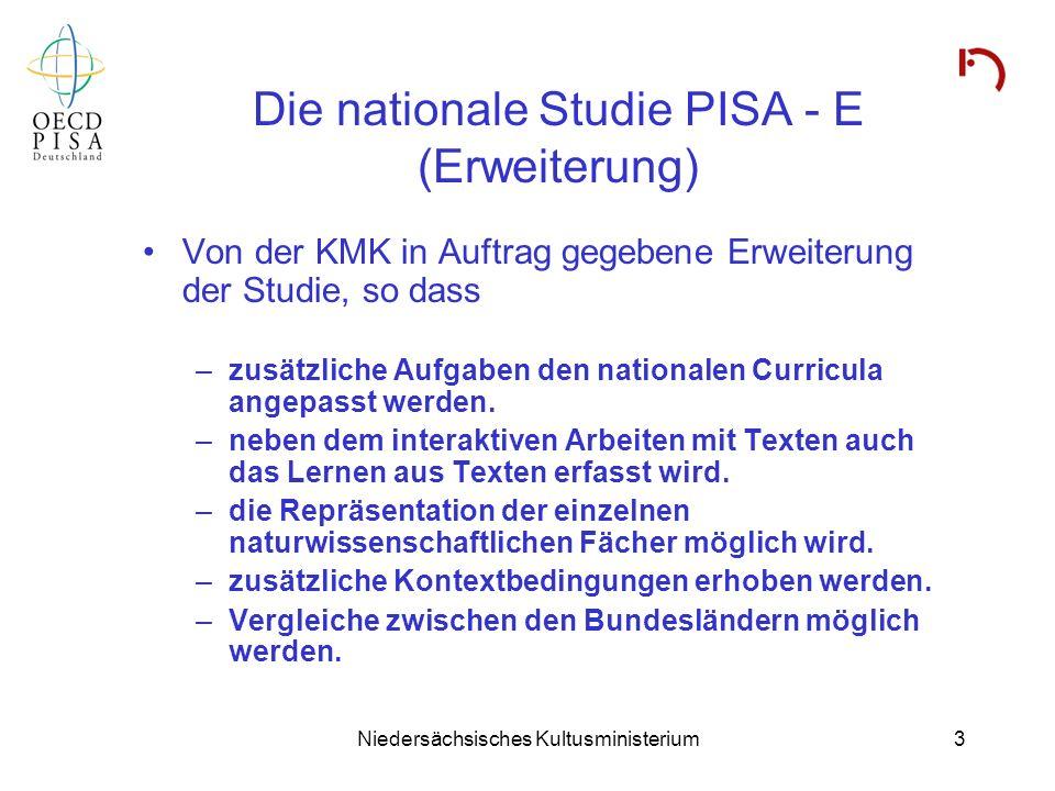 Niedersächsisches Kultusministerium3 Die nationale Studie PISA - E (Erweiterung) Von der KMK in Auftrag gegebene Erweiterung der Studie, so dass –zusä