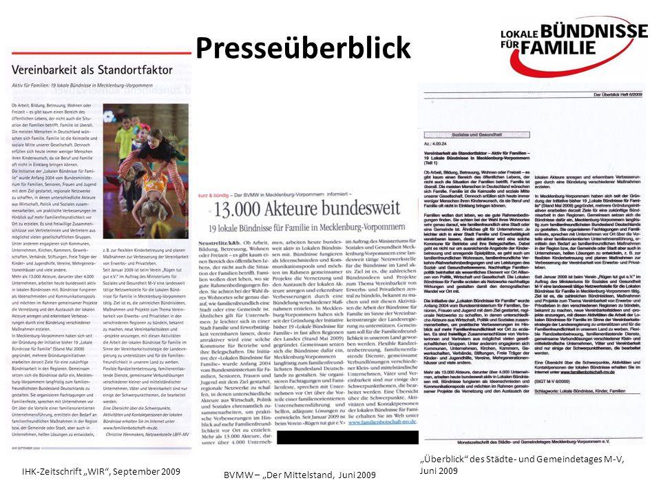 Presseüberblick IHK-Zeitschrift WIR, September 2009 BVMW – Der Mittelstand, Juni 2009 Überblick des Städte- und Gemeindetages M-V, Juni 2009