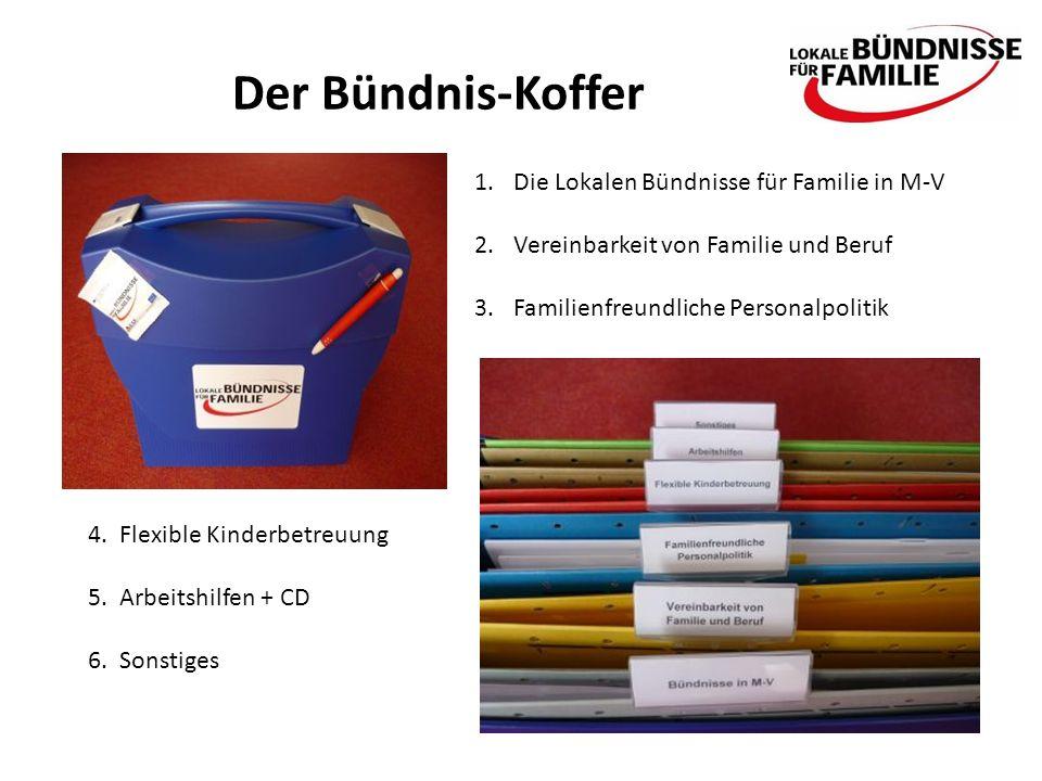 Der Bündnis-Koffer 1.Die Lokalen Bündnisse für Familie in M-V 2.Vereinbarkeit von Familie und Beruf 3.Familienfreundliche Personalpolitik 4.