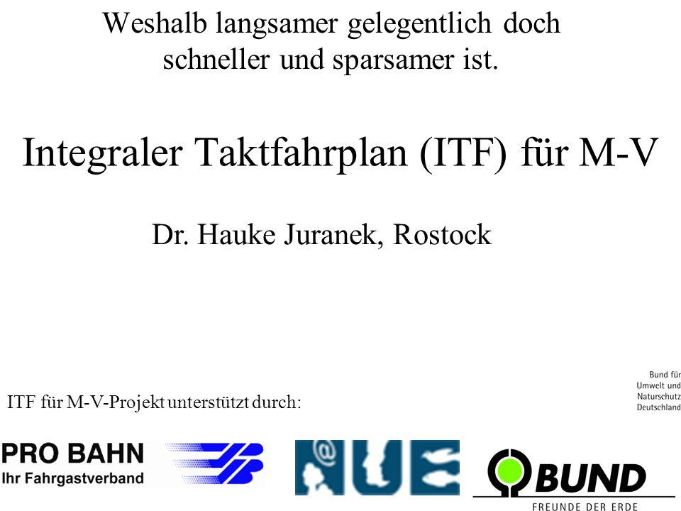 Integraler Taktfahrplan (ITF) für M-V ITF für M-V-Projekt unterstützt durch: Dr.