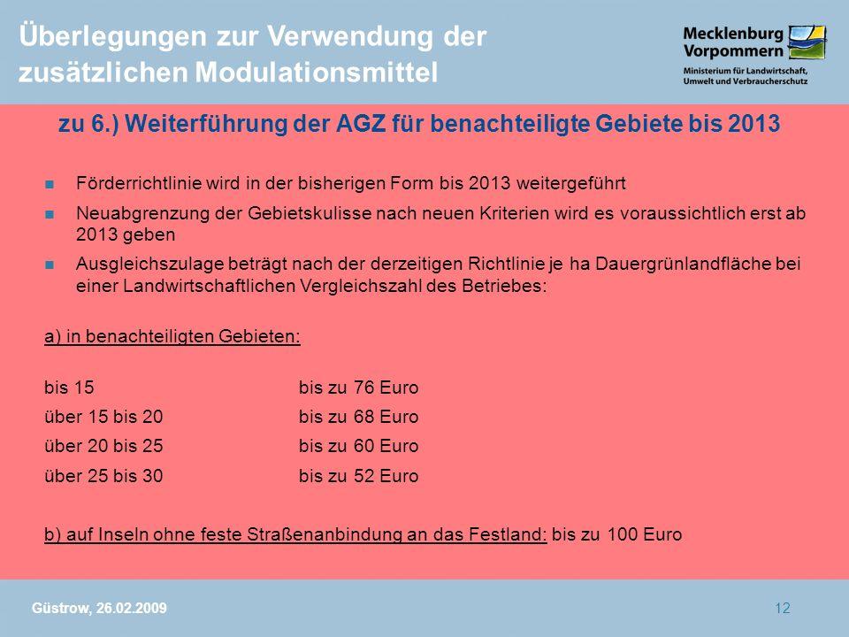 Güstrow, 26.02.200912 Überlegungen zur Verwendung der zusätzlichen Modulationsmittel zu 6.) Weiterführung der AGZ für benachteiligte Gebiete bis 2013