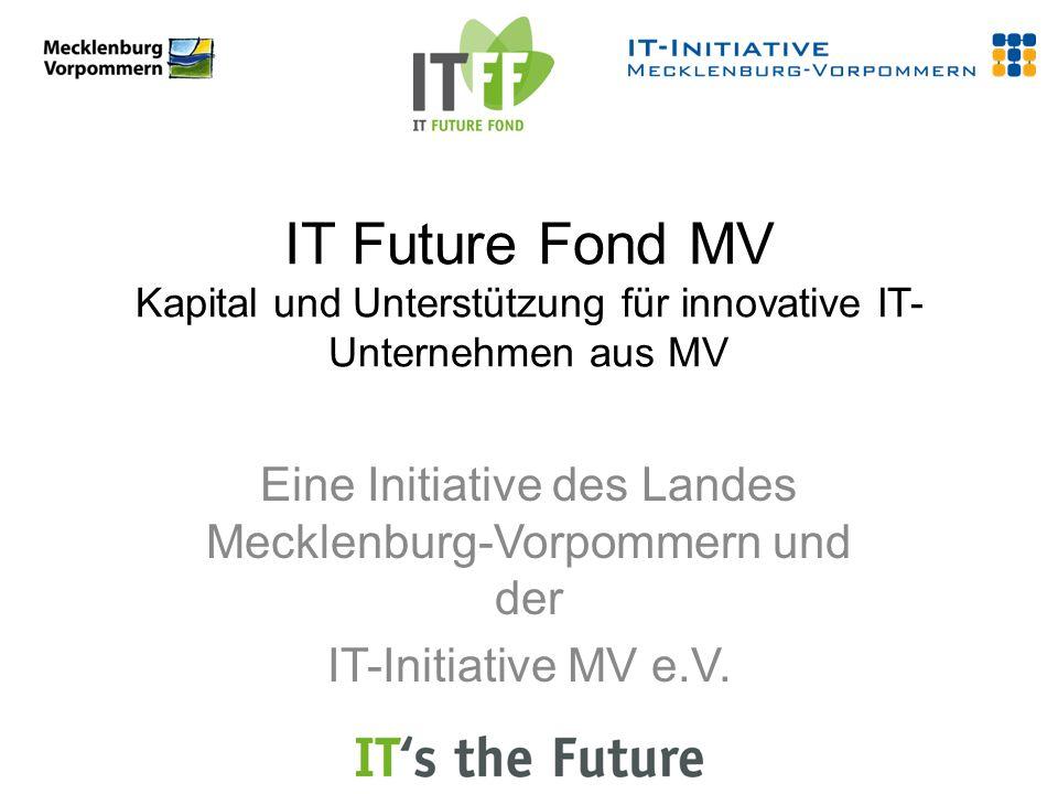 IT Future Fond MV Kapital und Unterstützung für innovative IT- Unternehmen aus MV Eine Initiative des Landes Mecklenburg-Vorpommern und der IT-Initiative MV e.V.