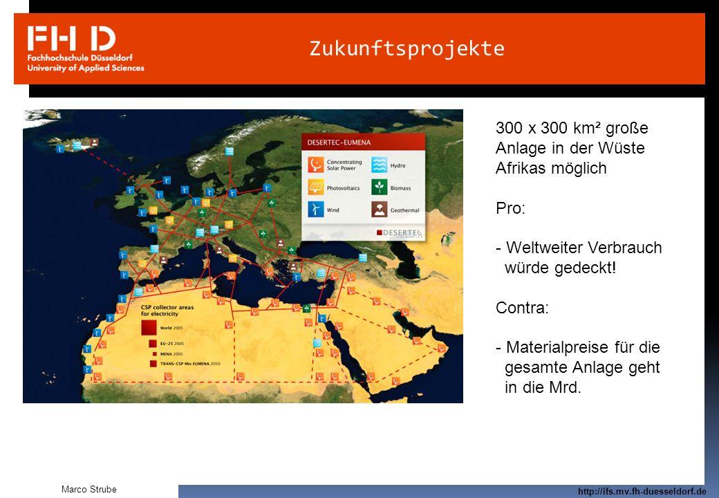 Prof. Dr.-Ing. Frank Kameier © 2009 http://ifs.mv.fh-duesseldorf.de Zukunftsprojekte Marco Strube 300 x 300 km² große Anlage in der Wüste Afrikas mögl