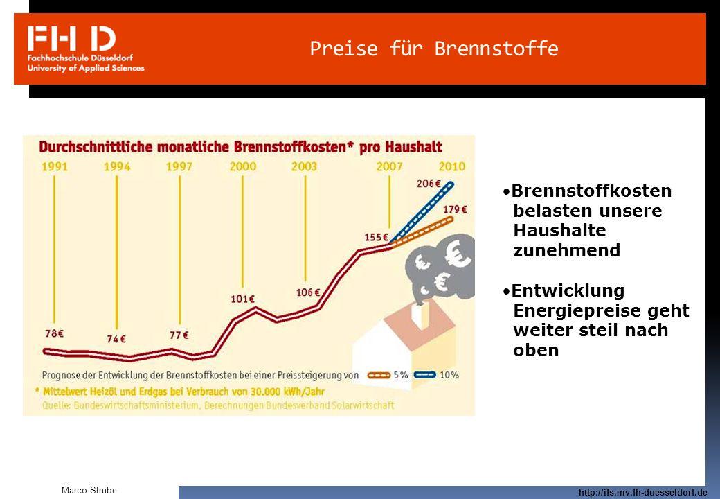 Prof. Dr.-Ing. Frank Kameier © 2009 http://ifs.mv.fh-duesseldorf.de Preise für Brennstoffe Brennstoffkosten belasten unsere Haushalte zunehmend Entwic