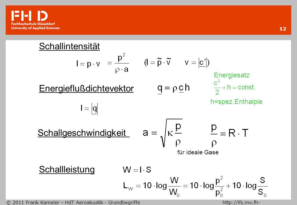 © 2011 Frank Kameier – HdT Aeroakustik - Grundbegriffe http://ifs.mv.fh- duesseldorf.de 12 Schallintensität Schallgeschwindigkeit für ideale Gase Ener