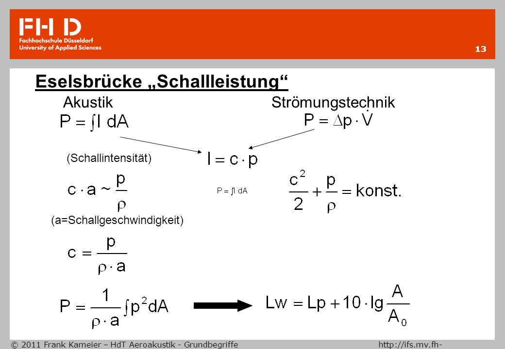 © 2011 Frank Kameier – HdT Aeroakustik - Grundbegriffe http://ifs.mv.fh- duesseldorf.de 13 Eselsbrücke Schallleistung Akustik Strömungstechnik (Schall