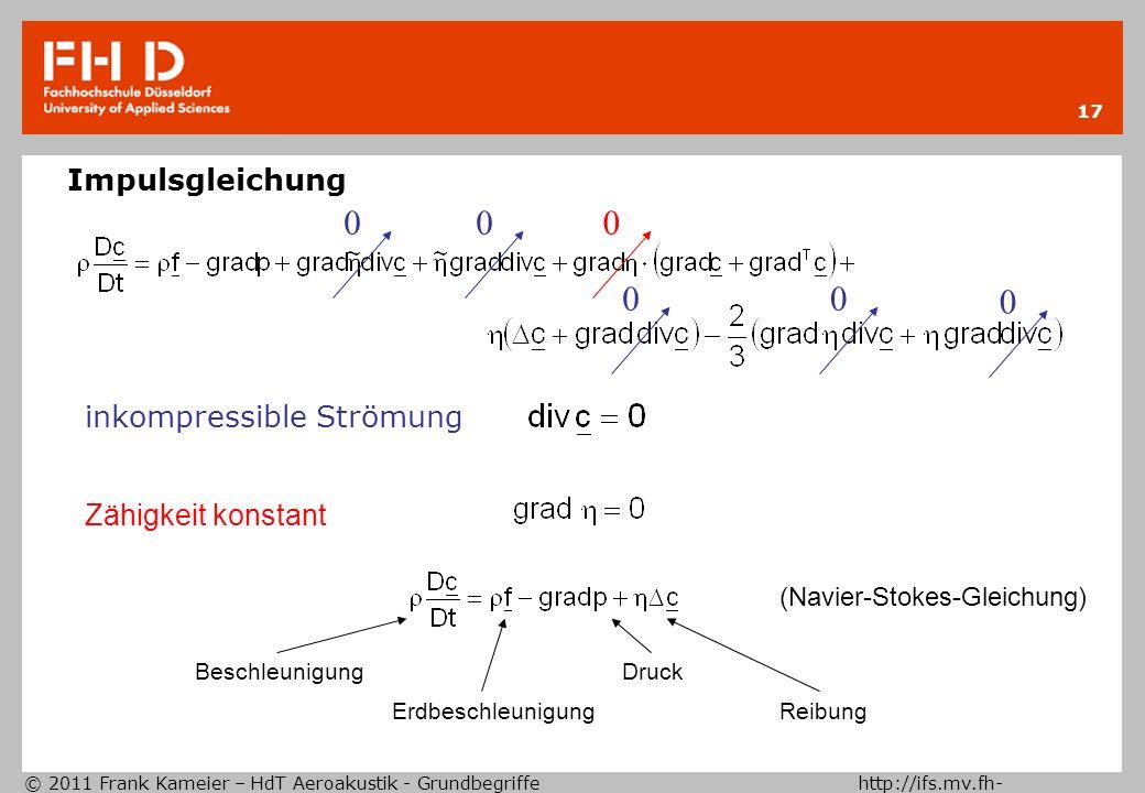 © 2011 Frank Kameier – HdT Aeroakustik - Grundbegriffe http://ifs.mv.fh- duesseldorf.de 17 Impulsgleichung inkompressible Strömung 00 00 0 Zähigkeit k