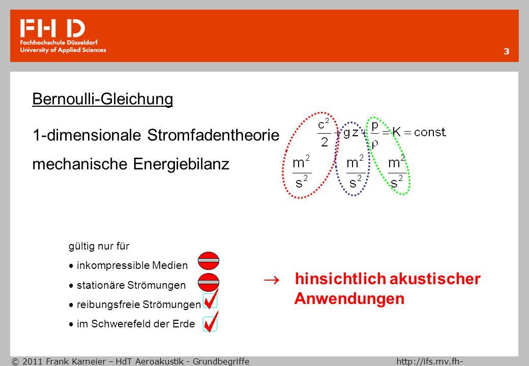 © 2011 Frank Kameier – HdT Aeroakustik - Grundbegriffe http://ifs.mv.fh- duesseldorf.de 34 akustische Wellengleichung Aus der Thermodynamik folgt, dass dieser Term nur einen Beitrag für anisentrope Strömungen und für Strömungen mit einer sich von der Ruheschallgeschwindigkeit a o unterscheidenden Schallgeschwindigkeit a liefert.