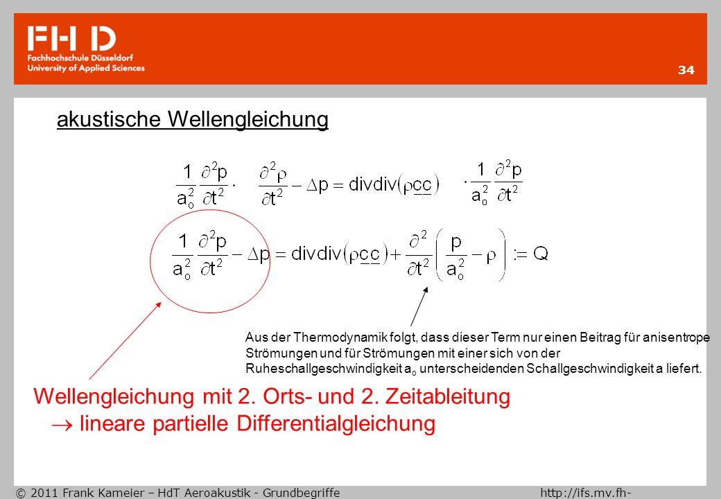 © 2011 Frank Kameier – HdT Aeroakustik - Grundbegriffe http://ifs.mv.fh- duesseldorf.de 34 akustische Wellengleichung Aus der Thermodynamik folgt, das