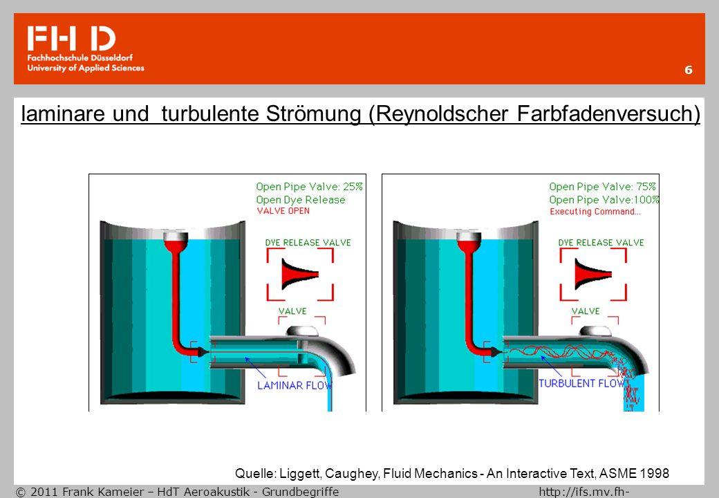 © 2011 Frank Kameier – HdT Aeroakustik - Grundbegriffe http://ifs.mv.fh- duesseldorf.de 7 Reynoldszahl c = charakteristische Geschwindigkeit D= charakteristischer Durchmesser = kinematische Zähigkeit laminares und turbulentes Rohrströmungsprofil -0.500.5 0 1 1.5 2 U~r 1/7 U~r 2