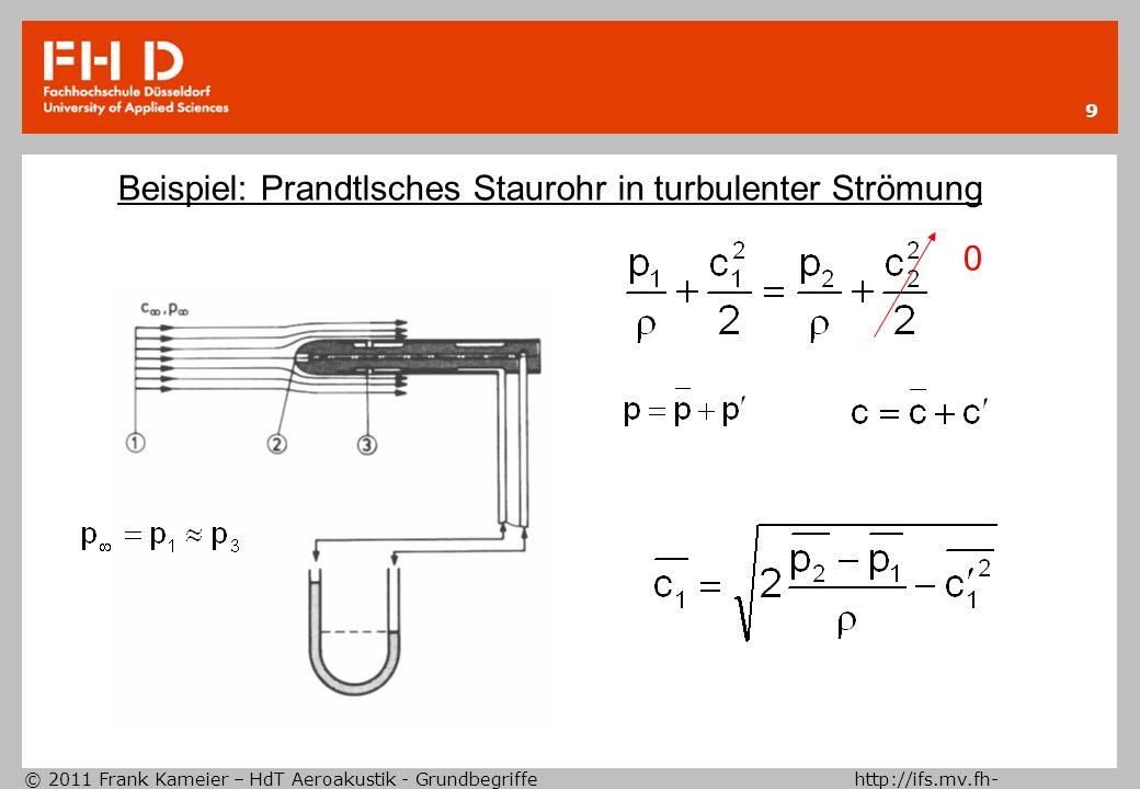 © 2011 Frank Kameier – HdT Aeroakustik - Grundbegriffe http://ifs.mv.fh- duesseldorf.de 9 Beispiel: Prandtlsches Staurohr in turbulenter Strömung 0