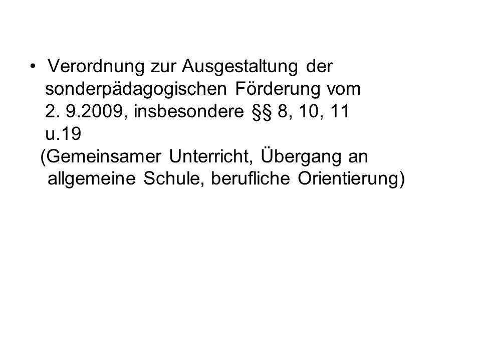 Verordnung zur Ausgestaltung der sonderpädagogischen Förderung vom 2.
