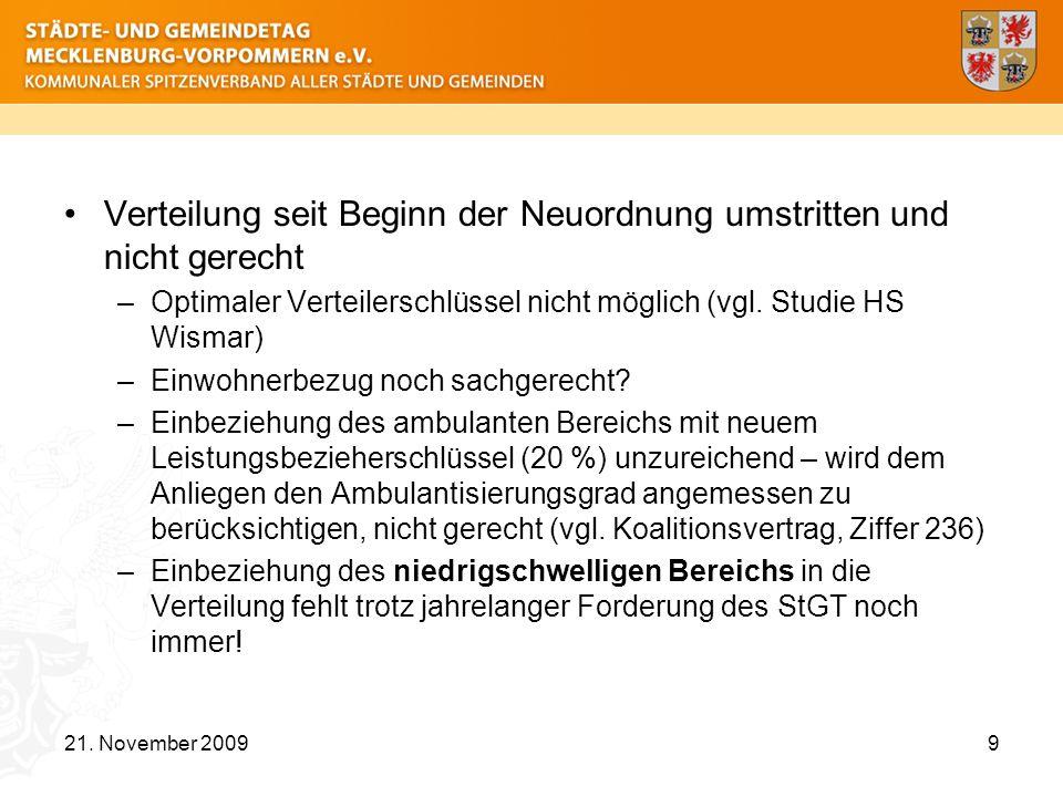 Verteilung seit Beginn der Neuordnung umstritten und nicht gerecht –Optimaler Verteilerschlüssel nicht möglich (vgl. Studie HS Wismar) –Einwohnerbezug