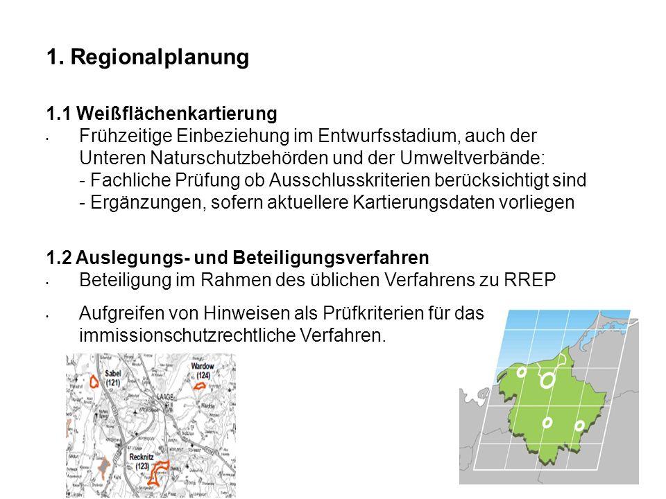 1. Regionalplanung 1.1 Weißflächenkartierung Frühzeitige Einbeziehung im Entwurfsstadium, auch der Unteren Naturschutzbehörden und der Umweltverbände: