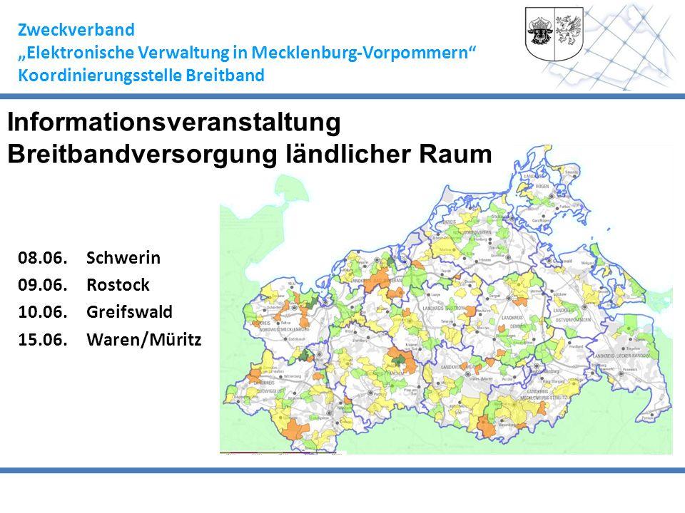 Zweckverband Elektronische Verwaltung in Mecklenburg-Vorpommern Koordinierungsstelle Breitband 08.06.Schwerin 09.06.Rostock 10.06.Greifswald 15.06.War