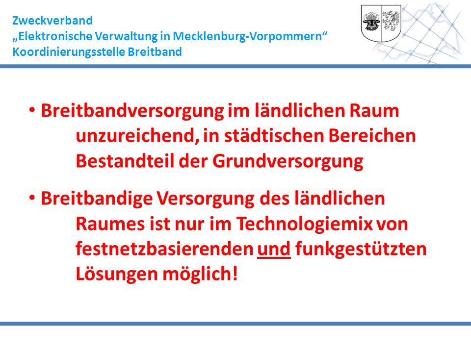 Zweckverband Elektronische Verwaltung in Mecklenburg-Vorpommern Koordinierungsstelle Breitband Breitbandversorgung im ländlichen Raum unzureichend, in