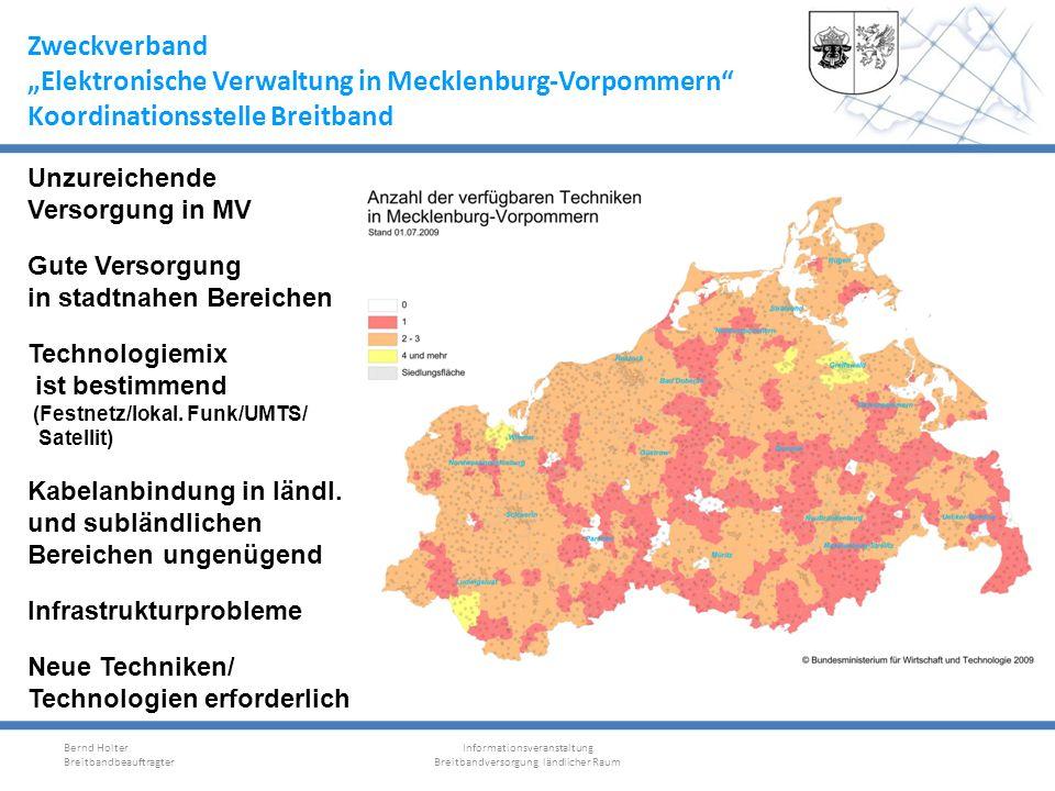 Zweckverband Elektronische Verwaltung in Mecklenburg-Vorpommern Koordinationsstelle Breitband Bernd Holter Breitbandbeauftragter Informationsveranstal