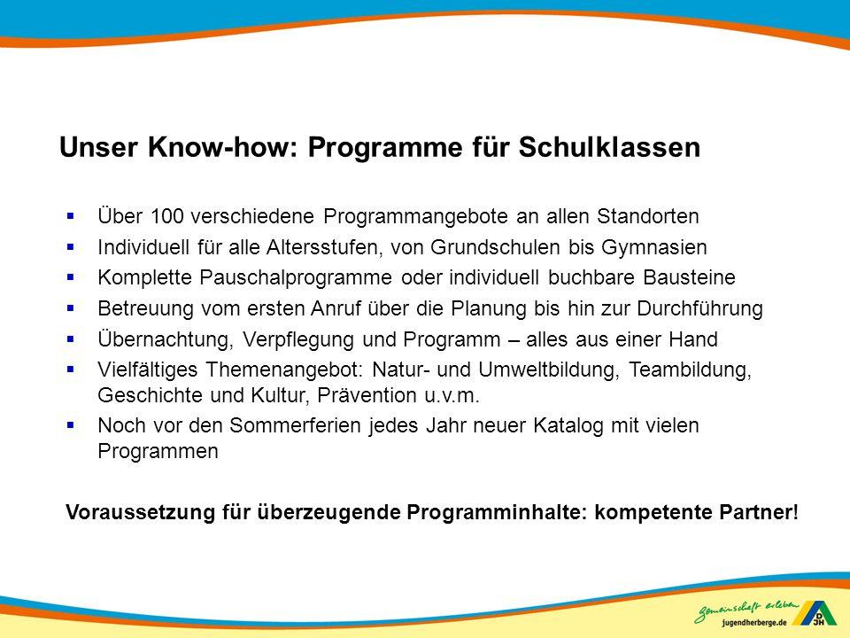 Unser Know-how: Programme für Schulklassen Über 100 verschiedene Programmangebote an allen Standorten Individuell für alle Altersstufen, von Grundschu