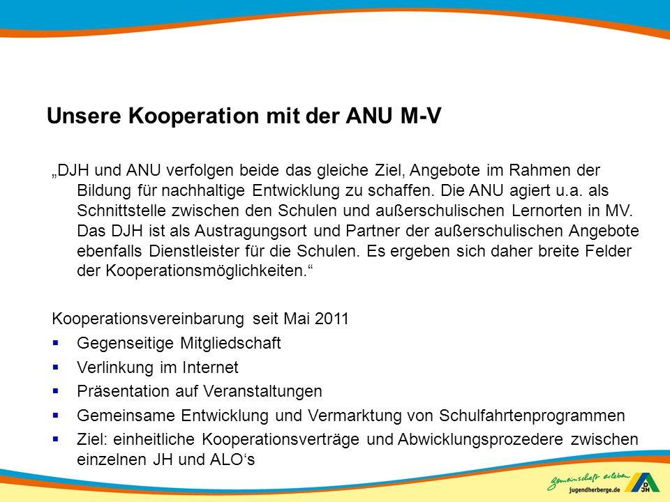 Unsere Kooperation mit der ANU M-V DJH und ANU verfolgen beide das gleiche Ziel, Angebote im Rahmen der Bildung für nachhaltige Entwicklung zu schaffe