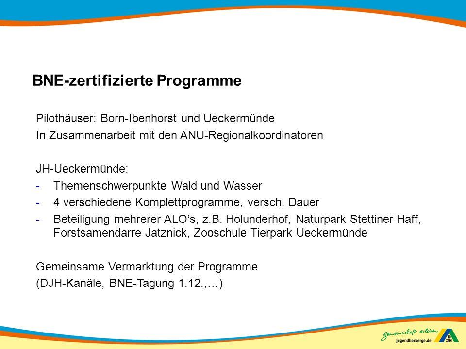 BNE-zertifizierte Programme Pilothäuser: Born-Ibenhorst und Ueckermünde In Zusammenarbeit mit den ANU-Regionalkoordinatoren JH-Ueckermünde: -Themensch