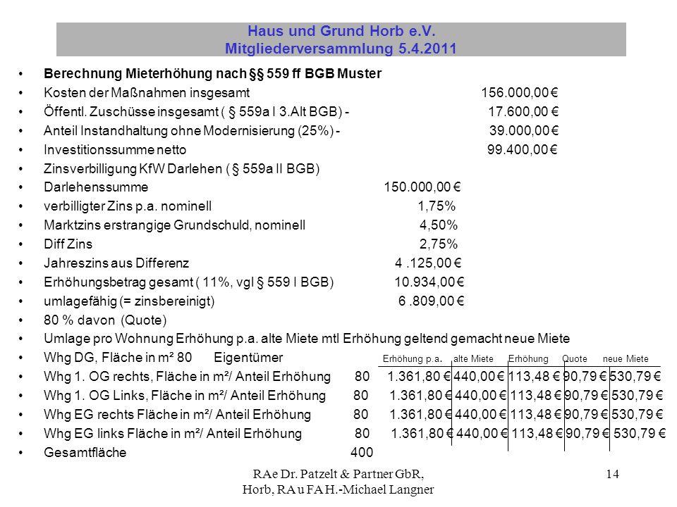 RAe Dr. Patzelt & Partner GbR, Horb, RA u FA H.-Michael Langner 14 Haus und Grund Horb e.V. Mitgliederversammlung 5.4.2011 Berechnung Mieterhöhung nac