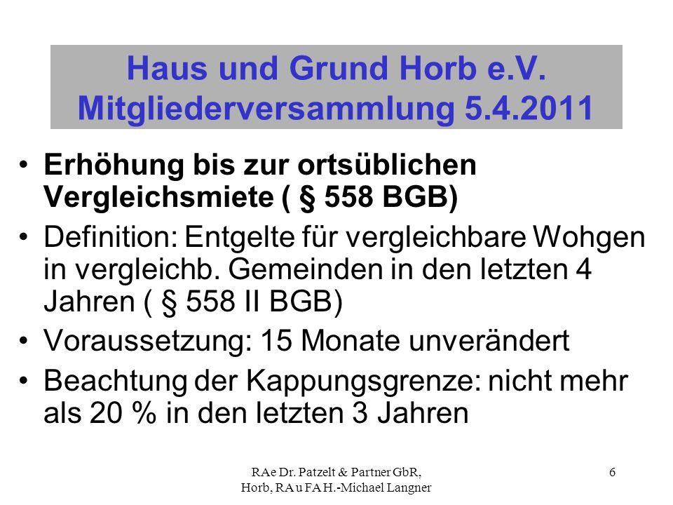 RAe Dr. Patzelt & Partner GbR, Horb, RA u FA H.-Michael Langner 6 Haus und Grund Horb e.V. Mitgliederversammlung 5.4.2011 Erhöhung bis zur ortsübliche