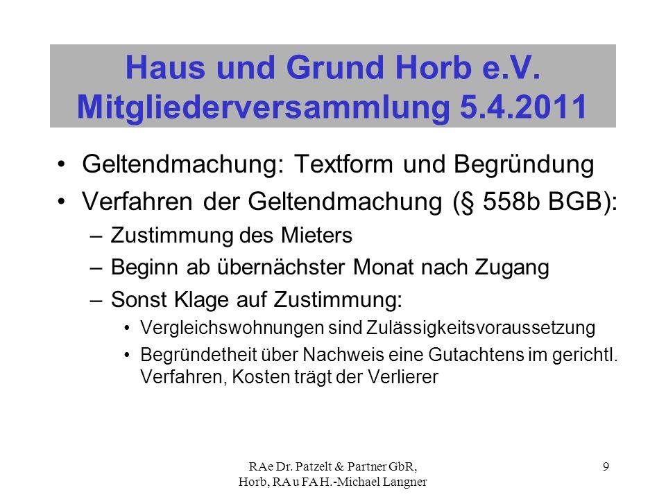 RAe Dr. Patzelt & Partner GbR, Horb, RA u FA H.-Michael Langner 9 Haus und Grund Horb e.V. Mitgliederversammlung 5.4.2011 Geltendmachung: Textform und