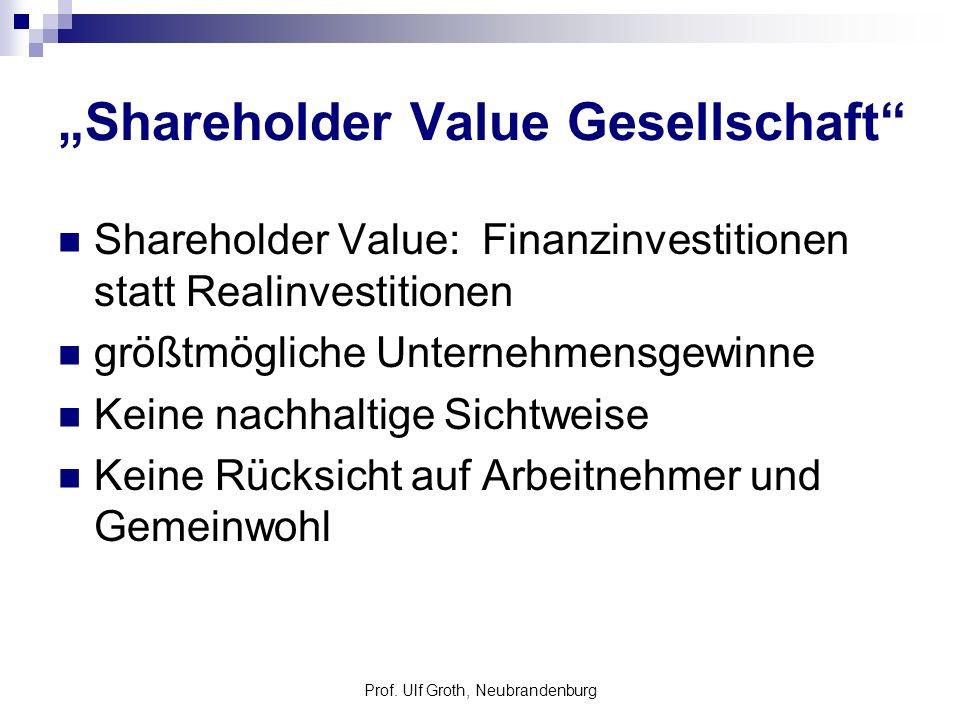 Shareholder Value Gesellschaft Shareholder Value: Finanzinvestitionen statt Realinvestitionen größtmögliche Unternehmensgewinne Keine nachhaltige Sich