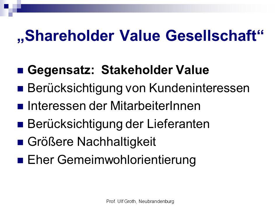 Prof. Ulf Groth, Neubrandenburg Shareholder Value Gesellschaft Gegensatz: Stakeholder Value Berücksichtigung von Kundeninteressen Interessen der Mitar