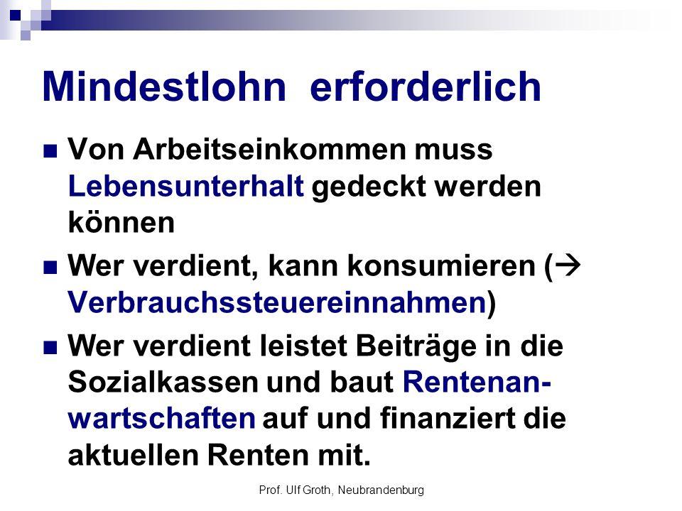 Prof. Ulf Groth, Neubrandenburg Mindestlohn erforderlich Von Arbeitseinkommen muss Lebensunterhalt gedeckt werden können Wer verdient, kann konsumiere
