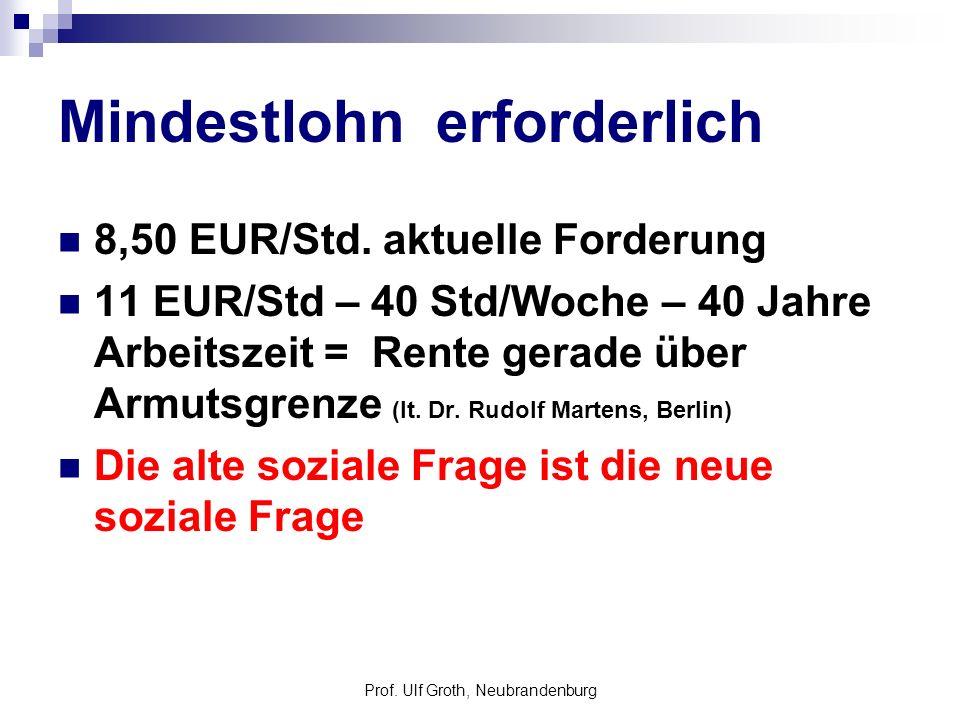 Prof. Ulf Groth, Neubrandenburg Mindestlohn erforderlich 8,50 EUR/Std. aktuelle Forderung 11 EUR/Std – 40 Std/Woche – 40 Jahre Arbeitszeit = Rente ger