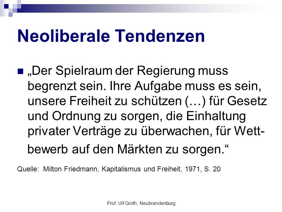 Prof. Ulf Groth, Neubrandenburg Neoliberale Tendenzen Der Spielraum der Regierung muss begrenzt sein. Ihre Aufgabe muss es sein, unsere Freiheit zu sc
