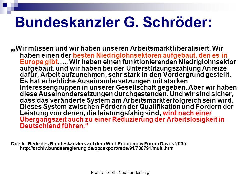 Prof. Ulf Groth, Neubrandenburg Bundeskanzler G. Schröder: Wir müssen und wir haben unseren Arbeitsmarkt liberalisiert. Wir haben einen der besten Nie