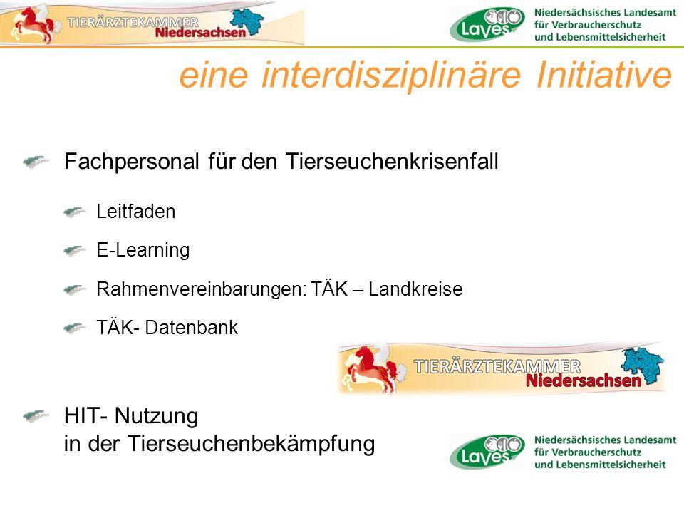Fachpersonal für den Tierseuchenkrisenfall Leitfaden E-Learning Rahmenvereinbarungen: TÄK – Landkreise TÄK- Datenbank HIT- Nutzung in der Tierseuchenb