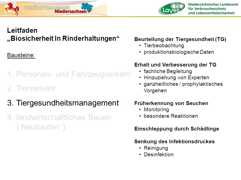 Leitfaden Biosicherheit In Rinderhaltungen Bausteine: 1.Personen- und Fahrzeugverkehr 2.Tierverkehr 3.Tiergesundheitsmanagement 4.landwirtschaftliches