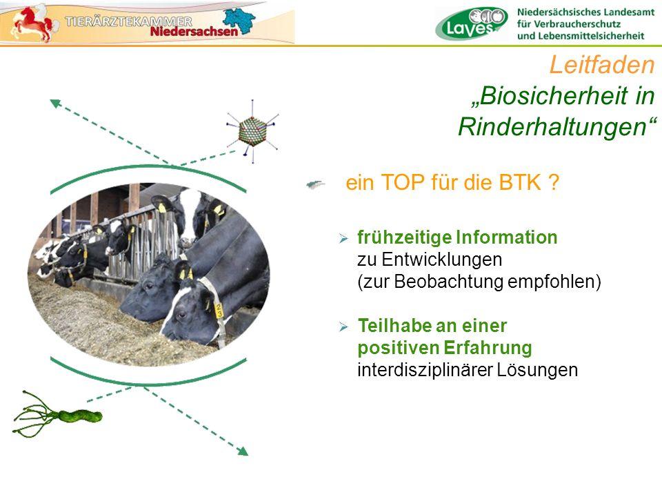 ein TOP für die BTK ? Leitfaden Biosicherheit in Rinderhaltungen frühzeitige Information zu Entwicklungen (zur Beobachtung empfohlen) Teilhabe an eine