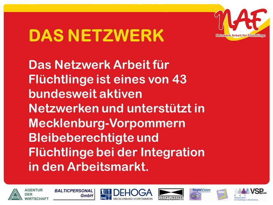 DAS NETZWERK Das Netzwerk Arbeit für Flüchtlinge ist eines von 43 bundesweit aktiven Netzwerken und unterstützt in Mecklenburg-Vorpommern Bleibeberech