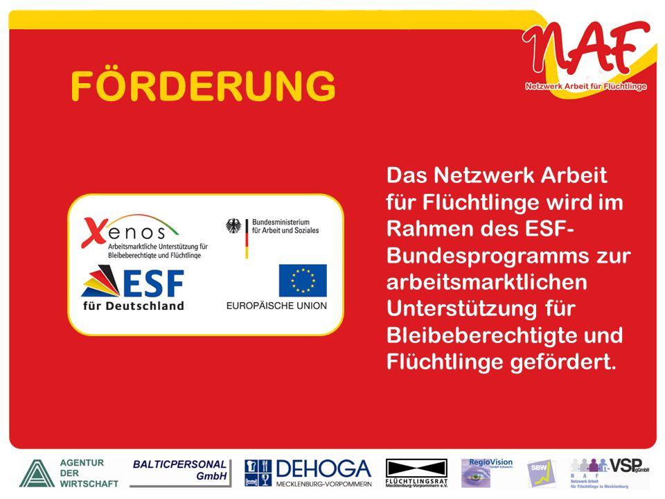 FÖRDERUNG Das Netzwerk Arbeit für Flüchtlinge wird im Rahmen des ESF- Bundesprogramms zur arbeitsmarktlichen Unterstützung für Bleibeberechtigte und F