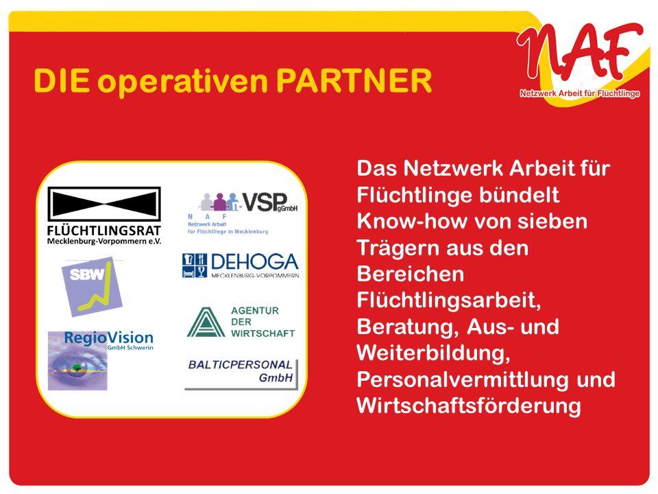 DIE operativen PARTNER Das Netzwerk Arbeit für Flüchtlinge bündelt Know-how von sieben Trägern aus den Bereichen Flüchtlingsarbeit, Beratung, Aus- und