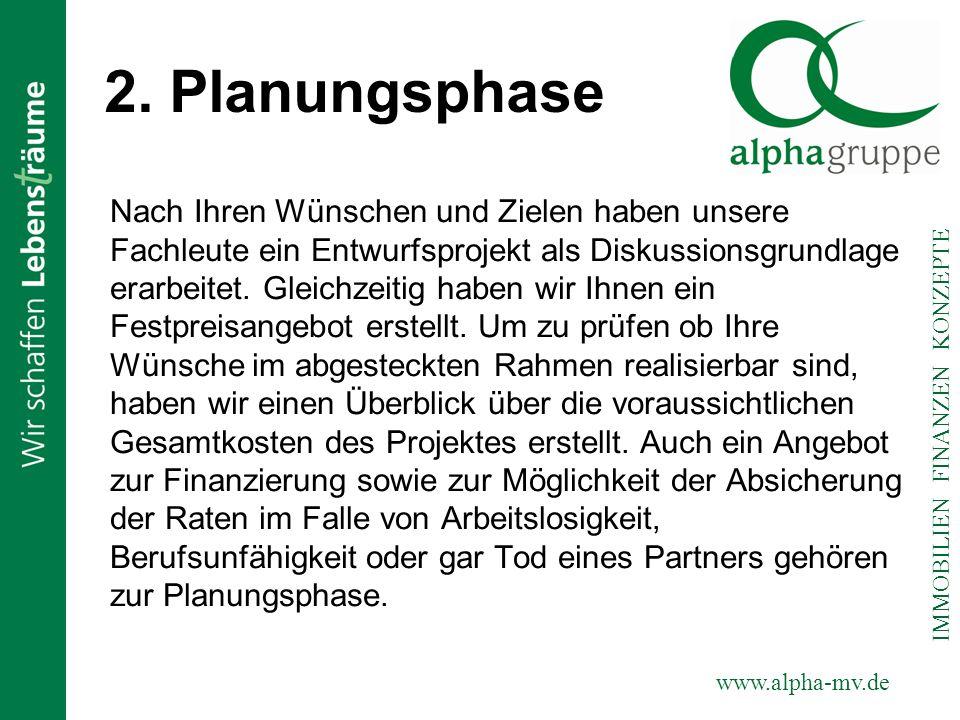 www.alpha-mv.de IMMOBILIEN FINANZEN KONZEPTE 2. Planungsphase Nach Ihren Wünschen und Zielen haben unsere Fachleute ein Entwurfsprojekt als Diskussion
