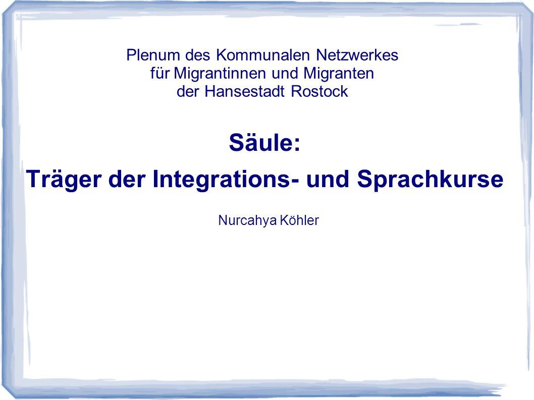 Säule: Träger der Integrations- und Sprachkurse Nurcahya Köhler Plenum des Kommunalen Netzwerkes für Migrantinnen und Migranten der Hansestadt Rostock